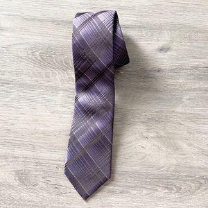 Calvin Klein Purple & Black 100% Silk Slim Tie